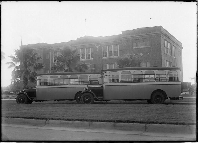 1900s: Buses in front of high school in South Texas