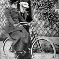 1895: Frances E. Willard learning to ride a bicycle.