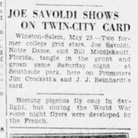 Joe Savoldi Shows on Twin City Card