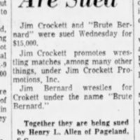 Crockett, The Brute Are Sued