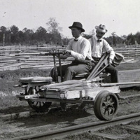 1902: Two men riding a three-wheeled hand-operated velocipede (also called a Handcar or draisine) on a railroad track.